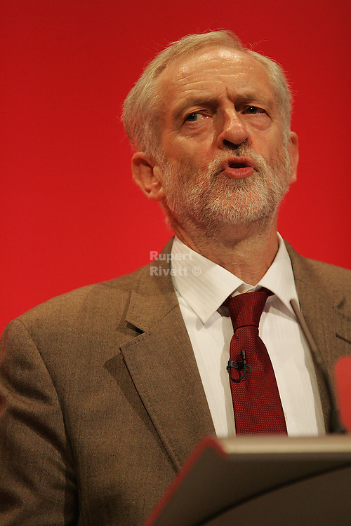 Jeremy Corbyn leader of the Labour Party gives his first speech at the Labour party conference 2015.