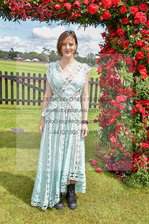 Eliza Cummings at the Cartier Queen's Cup Polo 2019 held at Guards Polo Club, Windsor, Berkshire. UK 16 June 2019. <br /> <br /> Photo by Dominic O'Neill/Desmond O'Neill Features Ltd.  +44(0)7092 235465  www.donfeatures.com