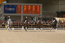 Oud Internationals:<br /> Van Baalen Coby (NED) - BMC Kigali<br /> Bartels Tinneke (NED) - Velazquez<br /> Rutten Bert (NED) - Broere Montecristo<br /> Van Silfhout Alex (NED) - Special D<br /> KWPN Hengstenkeuring - 's Hertogenbosch 2012<br /> © Dirk Caremans