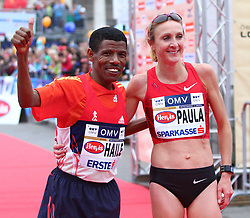 15.04.2012, Wien, AUT, Vienna City Marathon 2012, im Bild Paula Radcliffe (UK) und Haile Gebrselassie (ET) // during the Vienna City Marathon 2012, Vienna, Austria on 15/04/2012,  EXPA Pictures © 2012, PhotoCredit: EXPA/ T. Haumer