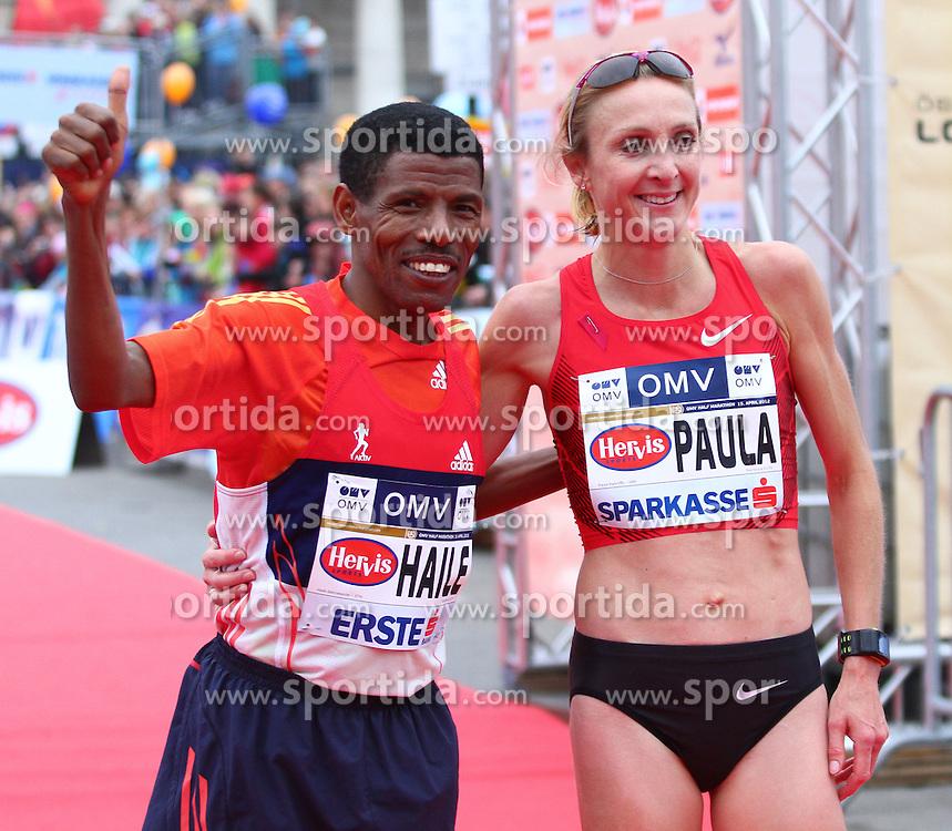 15.04.2012, Wien, AUT, Vienna City Marathon 2012, im Bild Paula Radcliffe (UK) und Haile Gebrselassie (ET) // during the Vienna City Marathon 2012, Vienna, Austria on 15/04/2012,  EXPA Pictures © 2012, PhotoCredit: EXPA/ T. Haumer