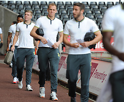 Southampton Players walk into the liberty stadium. - Photo mandatory by-line: Alex James/JMP - Mobile: 07966 386802 20/09/2014 - SPORT - FOOTBALL - Swansea - Liberty Stadium - Swansea City v Southampton  - Barclays Premier League