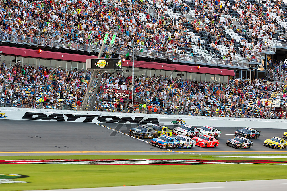 DAYTONA BEACH, FL - JUL 06, 2012:  The NASCAR Nationwide Series teams take to the track for the running of the Subway Jalapeno 250 at the Daytona International Speedway in Daytona Beach, FL.
