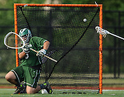 Billerica Memorial High School junior goalie Tyler Canto tries to block a shot during the Division 1 North Championship game against Lincoln-Sudbury Regional High School at Connolly Memorial Stadium in Woburn, June 13, 2015. The Warriors beat the Indians, 12-8.   (Wicked Local Photo/James Jesson)