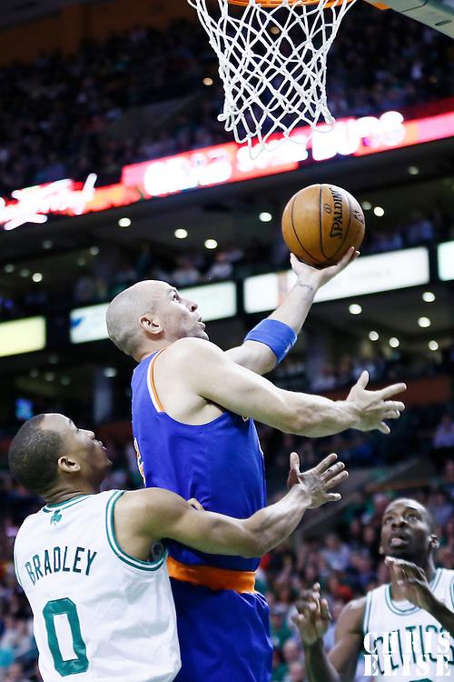 26 March 2013: New York Knicks point guard Jason Kidd (5) goes for the layup past Boston Celtics point guard Avery Bradley (0) during the New York Knicks 100-85 victory over the Boston Celtics at the TD Garden, Boston, Massachusetts, USA.