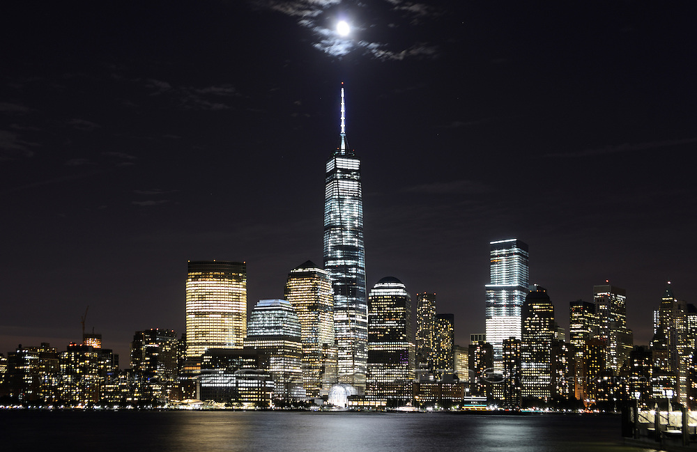 Freedom Tower at night. View from New Jersey.