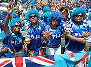 Fijian fans dancing  at the Hong Kong Stadium, Hong Kong on 28 March 2015. Photo by Ian Muir....during the Hong Kong Sevens 2015 match between ........... at Hong Kong Stadium, Hong Kong on 27 March 2015. Photo by Ian Muir.