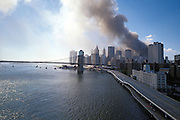 September 11 2001. downtown Manhattan after both World Trade Center towers have collapsed.