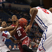 Will Cummings, (center), Temple, drives past Ryan Manuel, SMU, during the Temple Vs SMU Semi Final game at the American Athletic Conference Men's College Basketball Championships 2015 at the XL Center, Hartford, Connecticut, USA. 14th March 2015. Photo Tim Clayton