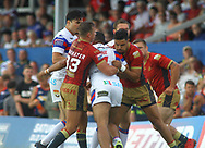 Reece Lyne of Wakefield Trinity wrapped up by a strong Catalans Dragons defence during the Betfred Super League match at the Mobile Rocket Stadium, Wakefield<br /> Picture by Stephen Gaunt/Focus Images Ltd +447904 833202<br /> 07/07/2018