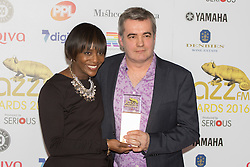 Victoria House, London, April 26th 2016.  Mark Lockheart  and Brenda Emmanus photographed at the Jazz FM awards at Victoria House, Bloomsbury, London.