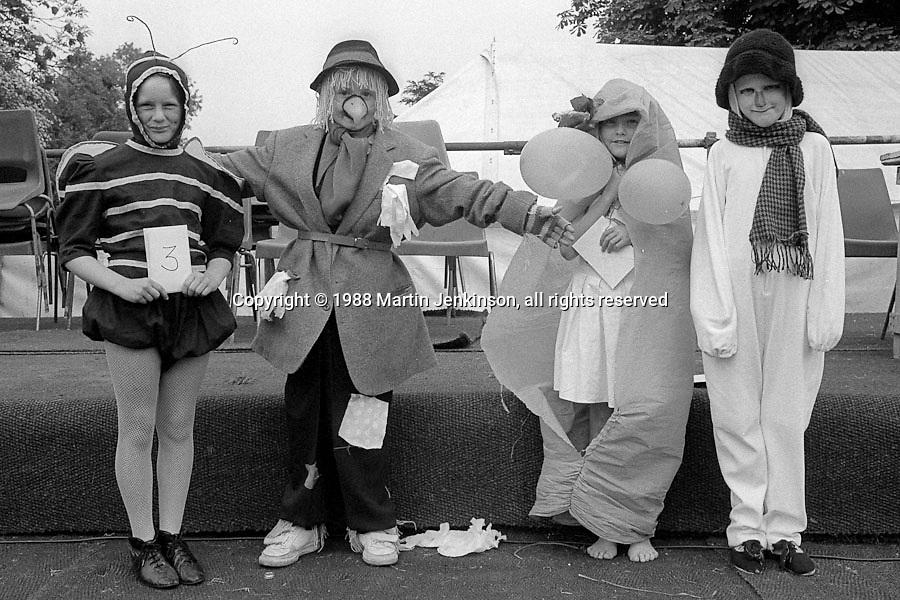 8 to 14 yrs Fancy Dress l to r: 1st Donna Curnow, Frickley; 4th Andrew Clarey, Brodsworth; 3rd Joanne Garrity, Grimethorpe; 2nd Nichola Gill, Sharlston. 1988 Yorkshire Miner's Gala. Wakefield.