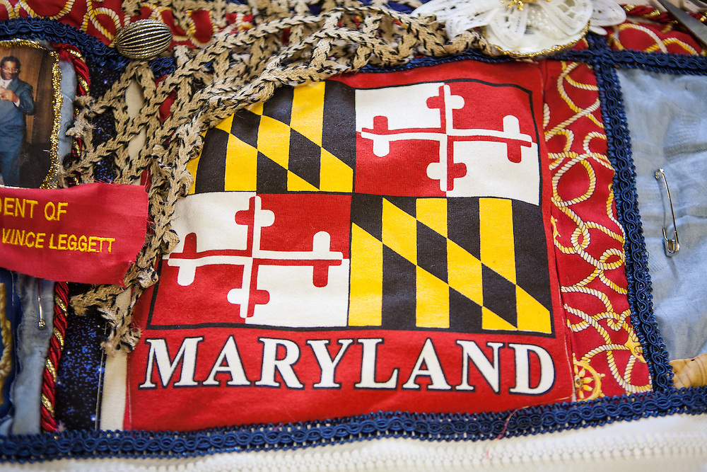 Shady Side, Maryland, US - 21 September 2009. A cdetail of a quilt pieced from memorabilia of black watermen at the Salem Avery Museum in Shady Side, Maryland.