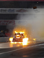 Feb. 13, 2010; Pomona, CA, USA; NHRA funny car driver Terry Haddock engine explodes during qualifying at the Kragen O'Reilly Winternationals at Auto Club Raceway. Mandatory Credit: Jennifer Stewart-US PRESSWIRE