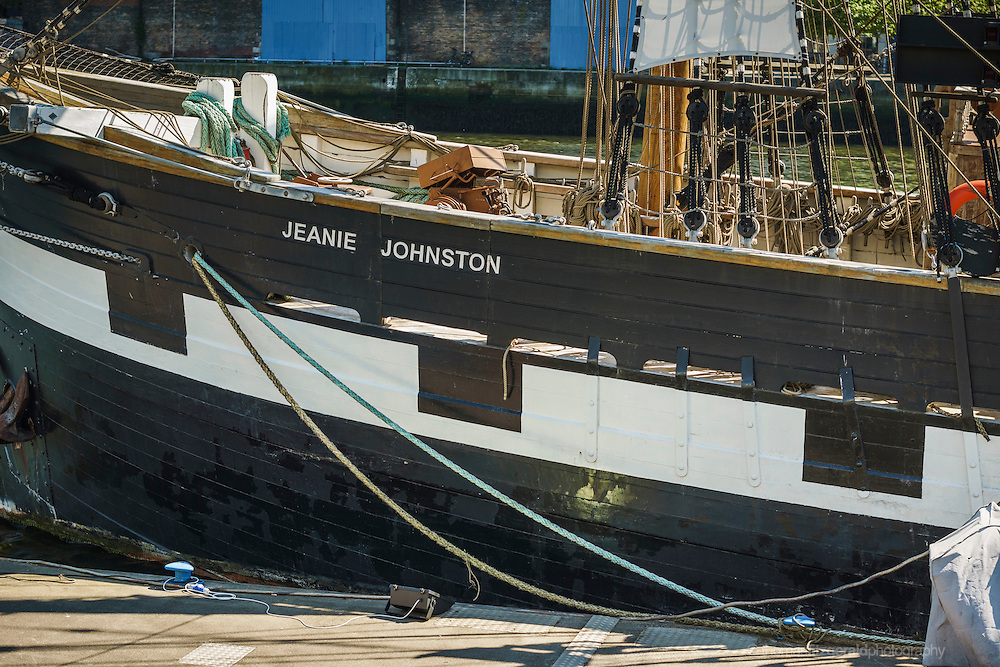 2013: Dublin, Ireland. A closeup of the famous training tall ship, the Jeanie Johnston moored by the quayside on Dublin's River Liffey