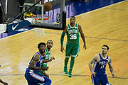 Boston Celtics and Philadelphia 76ers players watch the ball during the NBA London Game match between Philadelphia 76ers and Boston Celtics at the O2 Arena, London, United Kingdom on 11 January 2018. Photo by Martin Cole.