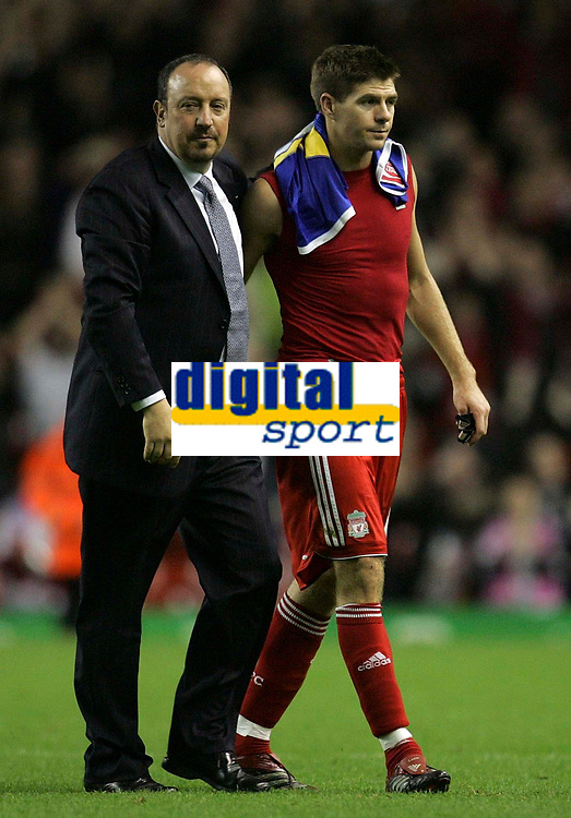 Photo: Paul Thomas.<br /> Liverpool v Cardiff City. Carling Cup. 31/10/2007.<br /> <br /> Liverpool manager Rafael Benitez (L) and his player Steven Gerrard walk off the field after the game.