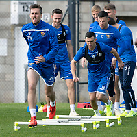 St Johnstone Training….<br />Callum Booth pictured during training at McDiarmid Park ahead of Sunday's game against Rangers<br />Picture by Graeme Hart.<br />Copyright Perthshire Picture Agency<br />Tel: 01738 623350  Mobile: 07990 594431