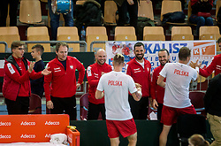 Mateusz Kowalczyk and Marcin Matkowski of Poland celebrate with their team after winning doubles during the Day 2 of Davis Cup 2018 Europe/Africa zone Group II between Slovenia and Poland, on February 4, 2018 in Arena Lukna, Maribor, Slovenia. Photo by Vid Ponikvar / Sportida