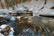 Millington Brook, Adirondacks, NY. <br /> The little stream winds in endless S curves through forest, and often it looks like it is barely moving.   I have walked a mile or so of it's banks, through the same woods and on top of the crusted snow that holds my weight, at least for now, early in the day, before the temperatures rise and the white softens.  Here, closer to joining the larger Hudson River, it is picking up speed.  Two trees fell across some time ago, creating a barrier, a gradient that ratchets up the current.   On this bend, I stand on the verge of things moving ahead or staying the same.  The choice is not all mine, as the way downstream is harder to navigate.  How far do you have to come before there's no incentive to go further?  I stand and move, gaining momentum.