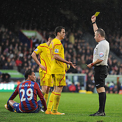 Liverpool's Javi Manquillo gets booked after a tackle on Crystal Palace's Marouane Chamakh - Photo mandatory by-line: Alex James/JMP - Mobile: 07966 386802 - 23/11/2014 - Sport - Football - London -  - Crystal palace  v Liverpool - Barclays Premier League