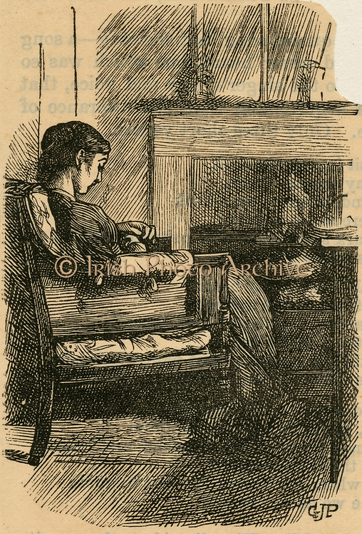 Woman sitting reading in front of fire. Engraving, 1869.