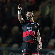 Dragons' Zane Kirchner signals to his team mates.<br /> <br /> Photographer Simon Latham/Replay Images<br /> <br /> Anglo-Welsh Cup Round Round 4 - Dragons v Worcester Warriors - Friday 2nd February 2018 - Rodney Parade - Newport<br /> <br /> World Copyright © Replay Images . All rights reserved. info@replayimages.co.uk - http://replayimages.co.uk
