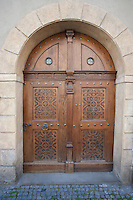 Wooden closed door in Prague; Czech Republic