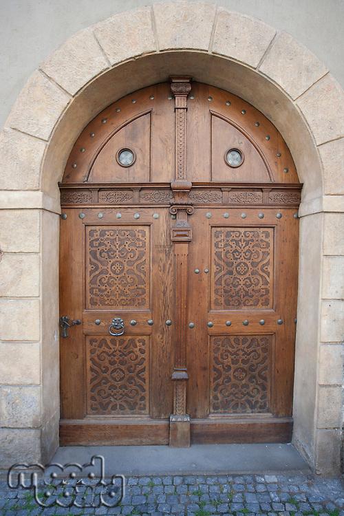 Wooden closed door in Prague; Czech Republic
