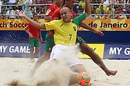 Footbal-FIFA Beach Soccer World Cup 2006 -  Semi Final- BRA xPOR -Hernani and Sidney-Rio de Janeiro- Brazil - 11/11/2006.<br />Mandatory Credit: FIFA/Ricardo Ayres