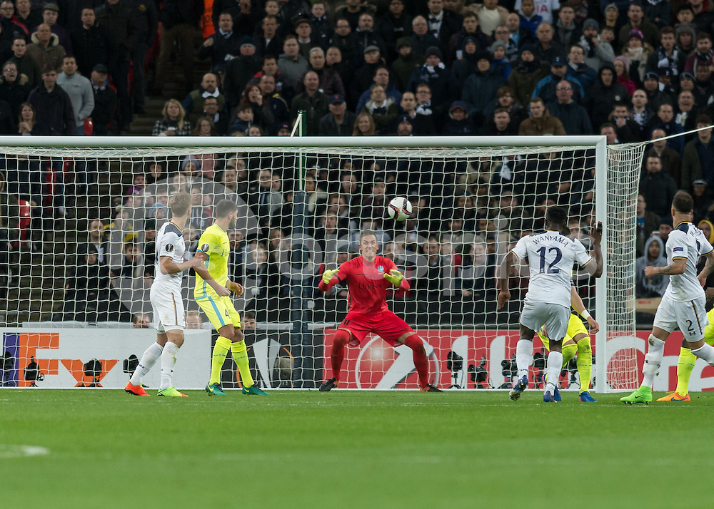 Victor Wanyama of Tottenham Hotspur scores Tottenham's second goal during the UEFA Europa League  Round of 32 Game 2 match between Tottenham Hotspur and Gent at Wembley Stadium, London, England on 23 February 2017. Photo by Vince  Mignott.