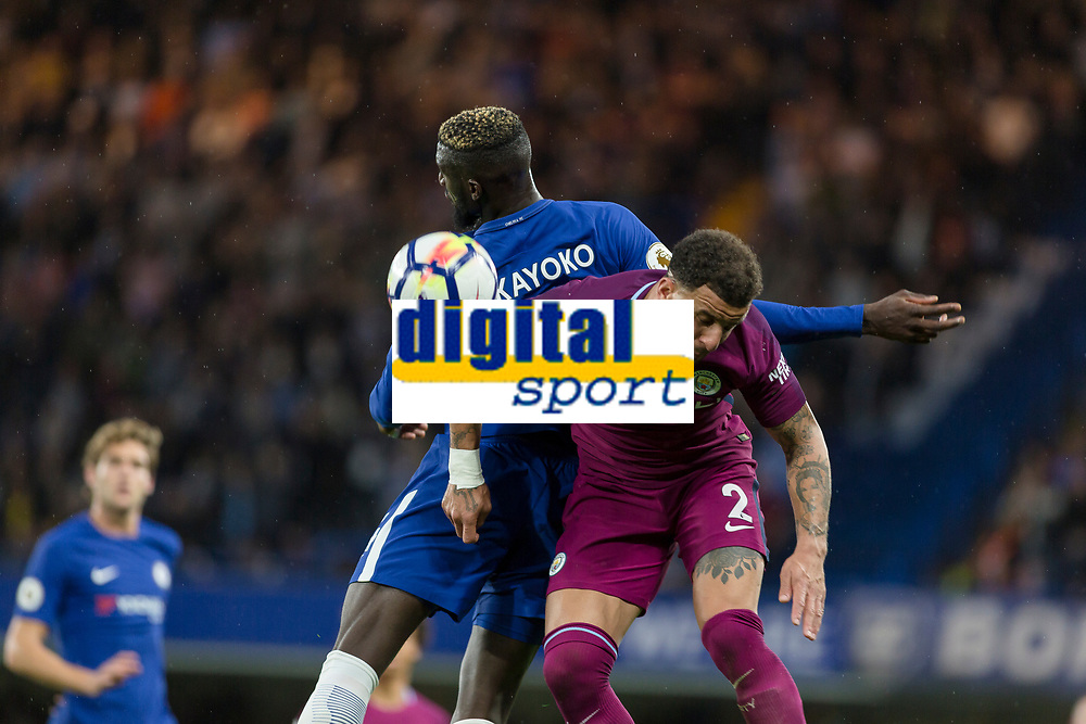 Football - 2017 / 2018 Premier League - Chelsea vs Manchester City<br /> <br /> Kyle Walker (Manchester City) and Tiemoue Bakayoko (Chelsea FC) tussle for the ball at Stamford Bridge <br /> <br /> COLORSPORT/DANIEL BEARHAM