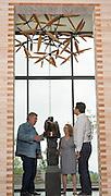 James Surls Flower Fields sculpture installation at Saffron Fields Vineyards tasting room, Yamhill, Oregon