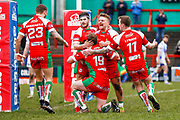 Keighley Cougars  celebrate Keighley Cougars prop Matthew Bailey (19) try during the Betfred League 1 match between Keighley Cougars and Workington Town at Cougar Park, Keighley, United Kingdom on 18 February 2018. Picture by Simon Davies.