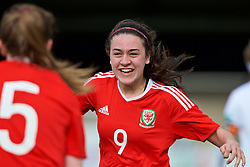 MERTHYR, WALES - Thursday, February 16, 2017: Wales' Meesha Dudley-Jones celebrates scoring the first goal against Hungary during a Women's Under-17's International Friendly match at Penydarren Park. (Pic by Laura Malkin/Propaganda)