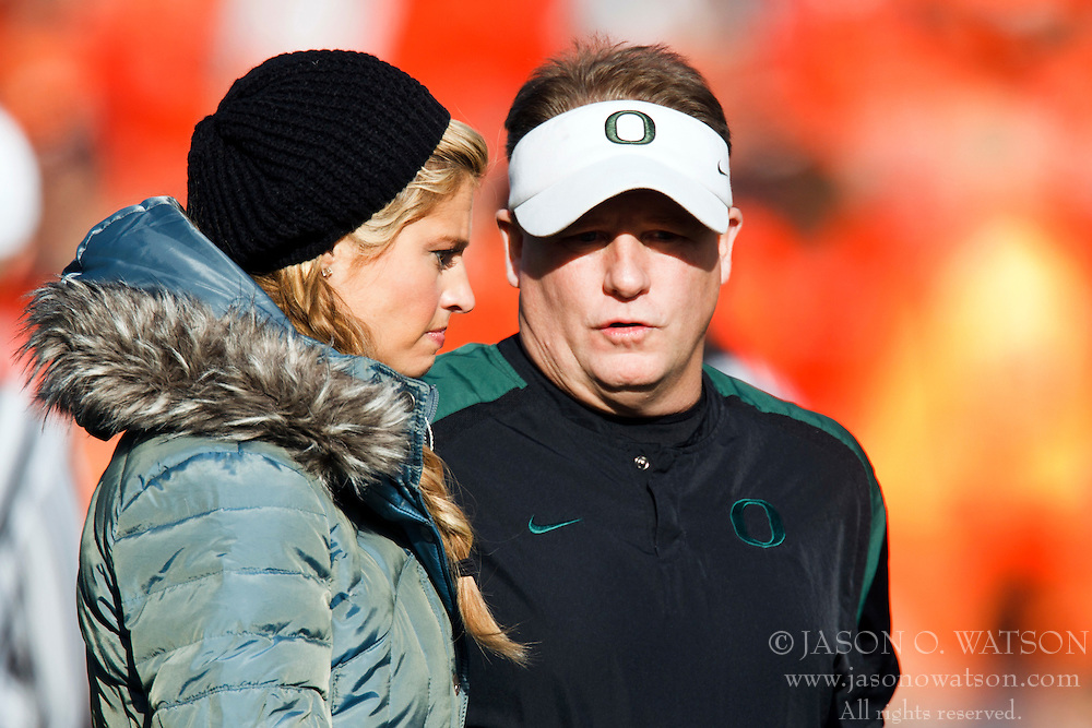 December 4, 2010; Corvallis, OR, USA;  Oregon Ducks head coach Chip Kelly (right) talks with ESPN side line reporter Erin Andrew (left) before the game against the Oregon State Beavers at Reser Stadium.  Oregon defeated Oregon State 37-20.