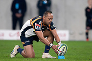 SYDNEY, AUSTRALIA - JUNE 08: Brumbies player Christian Lealiifano (10) places the ball at week 17 of Super Rugby between NSW Waratahs and Brumbies on June 08, 2019 at Western Sydney Stadium in NSW, Australia. (Photo by Speed Media/Icon Sportswire)