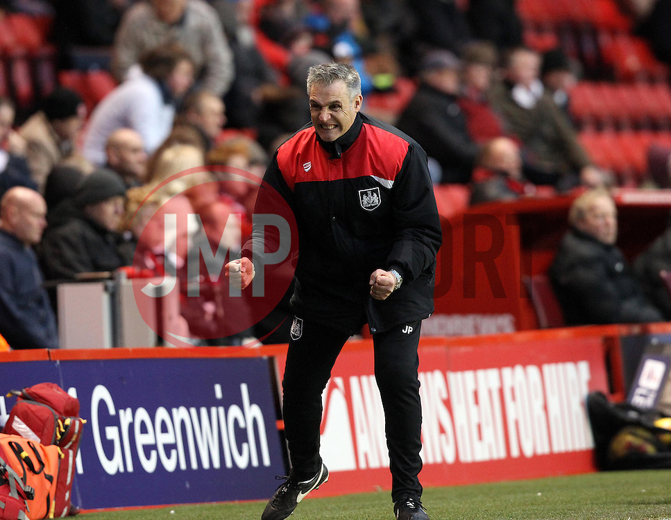 Bristol City Caretaker Manager John Pemberton celebrates the victory over Charlton Athletic - Mandatory byline: Robbie Stephenson/JMP - 06/02/2016 - FOOTBALL - The Valley - Charlton, England - Charlton Athletic v Bristol City - Sky Bet Championship