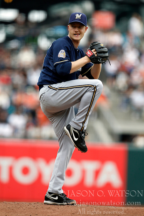 September 19, 2010; San Francisco, CA, USA;  Milwaukee Brewers starting pitcher Chris Narveson (38) pitches against the San Francisco Giants during the first inning at AT&T Park.  San Francisco defeated Milwaukee 9-2.