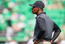Sep 6, 2015; Huntington, WV, USA; Purdue Boilermakers head coach Darrell Hazell looks on at his team before their game against the Marshall Thundering Herd at Joan C. Edwards Stadium. Mandatory Credit: Ben Queen-USA TODAY Sports