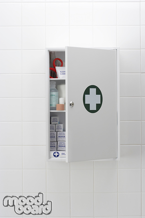 Blood hand print on medical cabinet