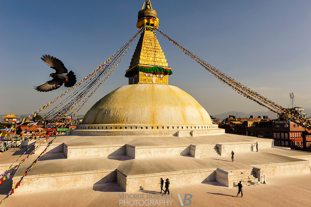 A large view of the budhnath stupa near kathmandu, nepal.  This is the largest stupa in Asia and an important pilgrimage center for tibetan monks.