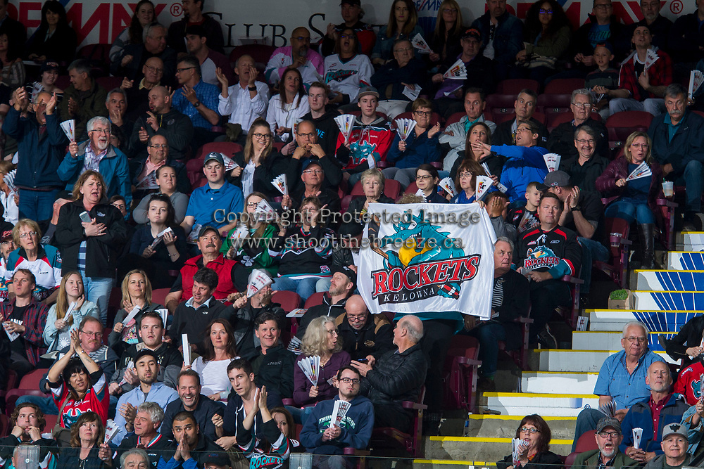 KELOWNA, CANADA - APRIL 25: Fans cheer on the Kelowna Rockets against the Seattle Thunderbirds on April 25, 2017 at Prospera Place in Kelowna, British Columbia, Canada.  (Photo by Marissa Baecker/Shoot the Breeze)  *** Local Caption ***