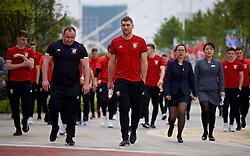NANNING, CHINA - Wednesday, March 21, 2018: Wales' Sam Vokes during a team walk near the Wanda Realm Resort ahead of the 2018 Gree China Cup International Football Championship. (Pic by David Rawcliffe/Propaganda)