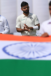 July 26, 2017 - Galle, Sri Lanka - Indian cricket captain Virat Kholi claps before the play started on 1st Day's in the 1st Test match between Sri Lanka and India at the Galle International cricket stadium, Galle, Sri Lanka on Wednesday 26 July 2017. (Credit Image: © Tharaka Basnayaka/NurPhoto via ZUMA Press)