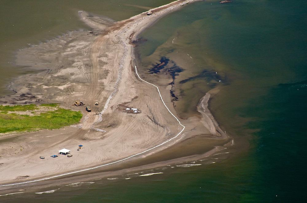 Oil on beach and artifical sand berm, Elmer's Island, Louisiana, USA (View NNE)