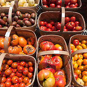 Heirloom tomatoes at a farmstand in Concord, MA, USA