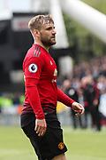 Manchester United defender Luke Shaw (23) during the Premier League match between Huddersfield Town and Manchester United at the John Smiths Stadium, Huddersfield, England on 5 May 2019.