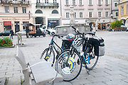 Touring bicycles at Hauptplatz, Linz, Austria