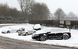 Abandoned cars on the Shipbourne Road near Tonbridge, Kent, after heavy snow , Tuesday, 12th March 2013.  Photo by: Stephen Lock / i-Images